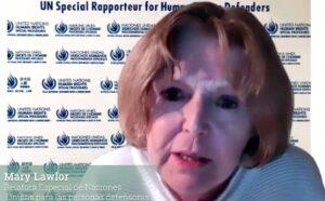 """Mary Lawlor, en el marco del 46º periodo de sesiones del Consejo de Derechos Humanos de la ONU, en el evento paralelo """"Hacia la erradicación de asesinatos y amenazas contra personas defensoras de derechos humanos en México"""""""