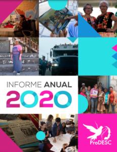 Portada del informe anual 2020 de ProDESC